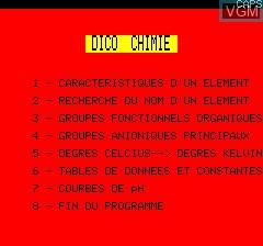 Image de l'ecran titre du jeu Dico Chimie sur Tangerine Computer Systems Oric