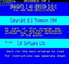 Image de l'ecran titre du jeu Draughts V2.48 sur Tangerine Computer Systems Oric
