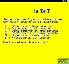 Image de l'ecran titre du jeu La France Quiz sur Tangerine Computer Systems Oric