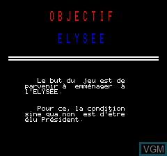 Image de l'ecran titre du jeu Objective Elysee sur Tangerine Computer Systems Oric