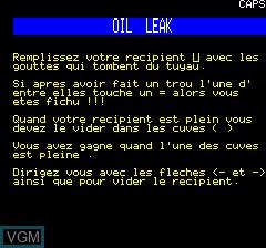 Image de l'ecran titre du jeu Oil-Leak sur Tangerine Computer Systems Oric