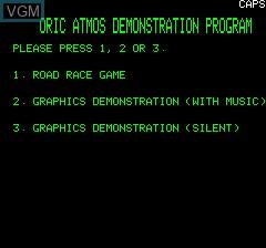 Image de l'ecran titre du jeu Oric Atmos Demonstration Program sur Tangerine Computer Systems Oric