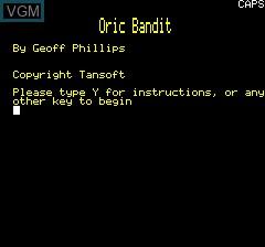 Image de l'ecran titre du jeu Oric Bandit sur Tangerine Computer Systems Oric