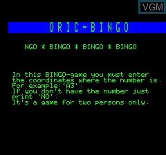 Image de l'ecran titre du jeu Oric Bingo sur Tangerine Computer Systems Oric
