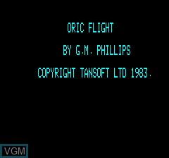 Image de l'ecran titre du jeu Oric Flight sur Tangerine Computer Systems Oric