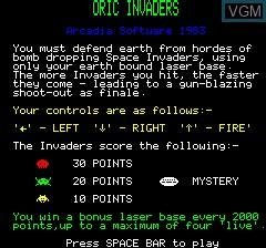 Image de l'ecran titre du jeu Oric Invaders sur Tangerine Computer Systems Oric