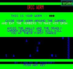 Image de l'ecran titre du jeu Oric Worm sur Tangerine Computer Systems Oric