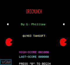 Image de l'ecran titre du jeu Oricmunch sur Tangerine Computer Systems Oric