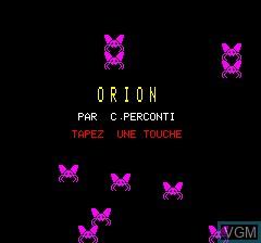 Image de l'ecran titre du jeu Orion sur Tangerine Computer Systems Oric
