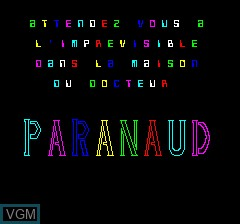 Image de l'ecran titre du jeu Paranaud sur Tangerine Computer Systems Oric