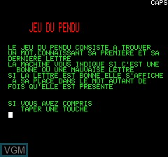 Image de l'ecran titre du jeu Pendu sur Tangerine Computer Systems Oric