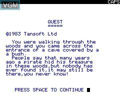 Image de l'ecran titre du jeu Quest sur Tangerine Computer Systems Oric