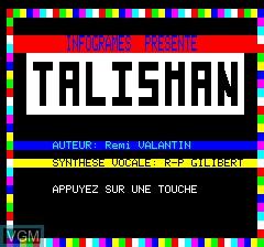 Image de l'ecran titre du jeu Talisman sur Tangerine Computer Systems Oric