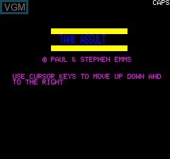 Image de l'ecran titre du jeu Tank Assult sur Tangerine Computer Systems Oric