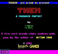 Image de l'ecran titre du jeu Them, A Paranoid Fantasy sur Tangerine Computer Systems Oric