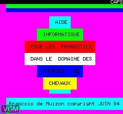 Image de l'ecran titre du jeu Tierce sur Tangerine Computer Systems Oric