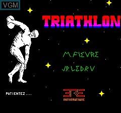Image de l'ecran titre du jeu Triathlon sur Tangerine Computer Systems Oric
