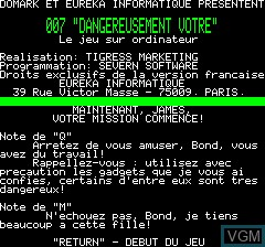 Image du menu du jeu 007 - Dangereusement Votre sur Tangerine Computer Systems Oric