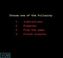 Image du menu du jeu 3D Noughts and Crosses sur Tangerine Computer Systems Oric