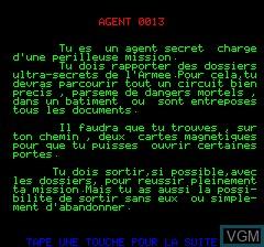 Image du menu du jeu Agent 0013 sur Tangerine Computer Systems Oric
