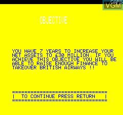Image du menu du jeu Airline sur Tangerine Computer Systems Oric