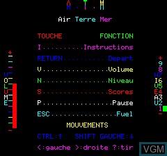 Image du menu du jeu A.T.M - Air Terre Mer sur Tangerine Computer Systems Oric