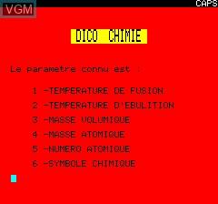 Image du menu du jeu Dico Chimie sur Tangerine Computer Systems Oric