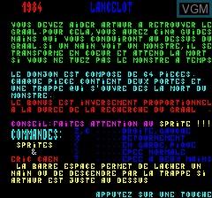 Image du menu du jeu Lancelot sur Tangerine Computer Systems Oric