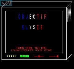 Image du menu du jeu Objective Elysee sur Tangerine Computer Systems Oric