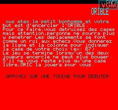 Image du menu du jeu Orible sur Tangerine Computer Systems Oric