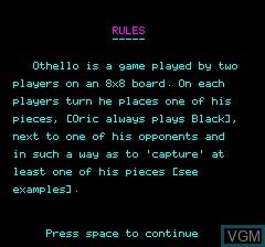 Image du menu du jeu Oric 48K Reverse sur Tangerine Computer Systems Oric