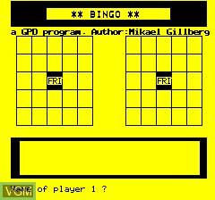 Image du menu du jeu Oric Bingo sur Tangerine Computer Systems Oric