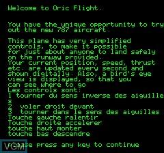 Image du menu du jeu Oric Flight sur Tangerine Computer Systems Oric