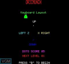 Image du menu du jeu Oricmunch sur Tangerine Computer Systems Oric