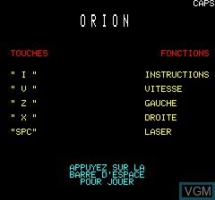 Image du menu du jeu Orion sur Tangerine Computer Systems Oric