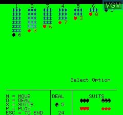 Image du menu du jeu Patience sur Tangerine Computer Systems Oric