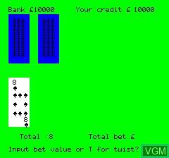 Image du menu du jeu Pontoon Card Game sur Tangerine Computer Systems Oric