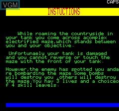 Image du menu du jeu Tank Assult sur Tangerine Computer Systems Oric