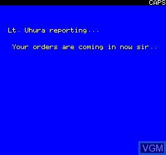 Image du menu du jeu Trek sur Tangerine Computer Systems Oric