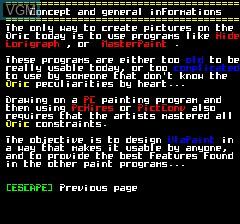 Image du menu du jeu UlaPaint V0.001 sur Tangerine Computer Systems Oric