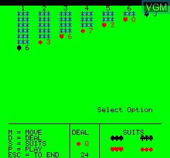 Image in-game du jeu Patience sur Tangerine Computer Systems Oric