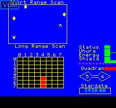 Image in-game du jeu Trek sur Tangerine Computer Systems Oric