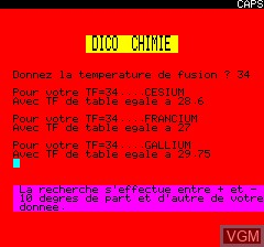 Image in-game du jeu Dico Chimie sur Tangerine Computer Systems Oric