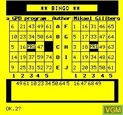 Image in-game du jeu Oric Bingo sur Tangerine Computer Systems Oric