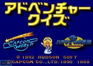Image de l'ecran titre du jeu Adventure Quiz - Capcom World & Hatena no Daibouken sur NEC PC Engine CD