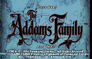 Image de l'ecran titre du jeu Addams Familly, The sur NEC PC Engine CD