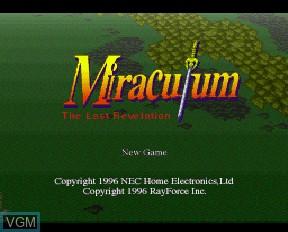 Image de l'ecran titre du jeu Miraculum - The Last Revelation sur NEC PC-FX