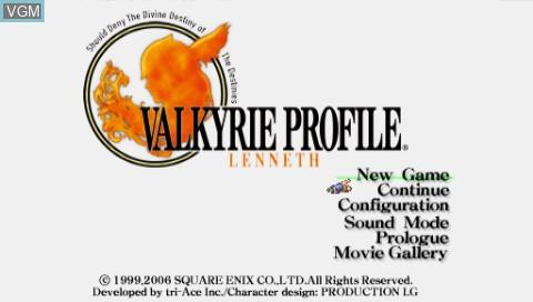 Image de l'ecran titre du jeu Valkyrie Profile - Lenneth sur Sony PSP