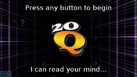 Image de l'ecran titre du jeu 20Q sur Sony PSP