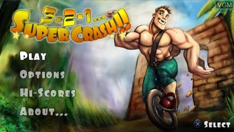 Image de l'ecran titre du jeu 3 2 1 - Supercrash! sur Sony PSP
